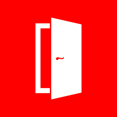 door sign: Door sign illustration. White icon on red background.