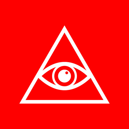 new world order: All seeing eye pyramid symbol. Freemason and spiritual. White icon on red background.
