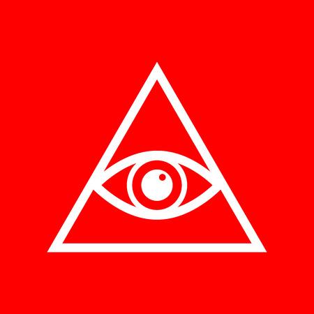 all seeing eye: All seeing eye pyramid symbol. Freemason and spiritual. White icon on red background.