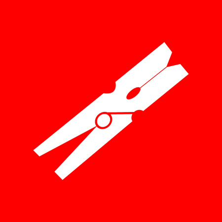 red icon: Clothes peg sign. White icon on red background.