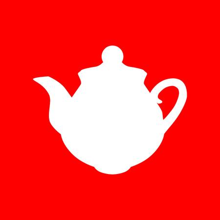 sign maker: Tea maker sign. White icon on red background.