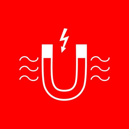 magnetic: Magnet with magnetic force indication. White icon on red background. Illustration