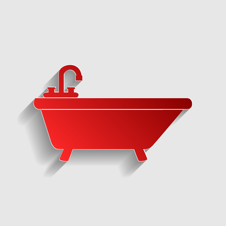 bathtub: Bathtub sign illustration. Red paper style icon with shadow on gray.