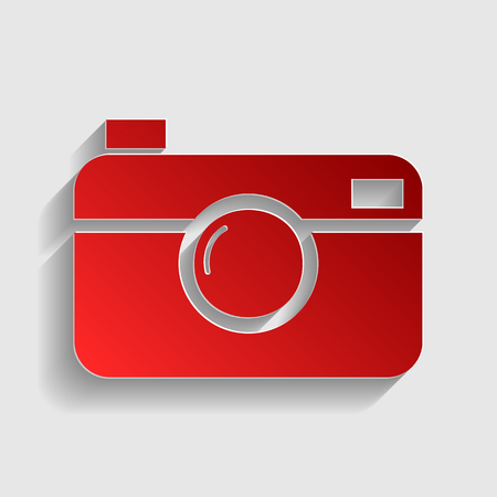 whim of fashion: Digital photo camera sign. Red paper style icon with shadow on gray. Illustration