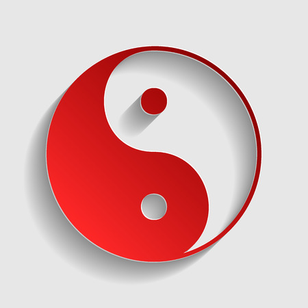 yang style: Ying yang symbol of harmony and balance. Red paper style icon with shadow on gray.