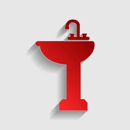 necessity: Bathroom sink sign. Red paper style icon with shadow on gray.