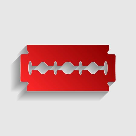 Razor blade sign. Red paper style icon with shadow on gray. Illustration