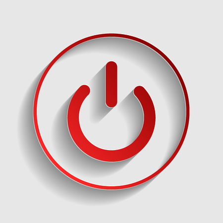 electrical part: On Off switch sign. Red paper style icon with shadow on gray.