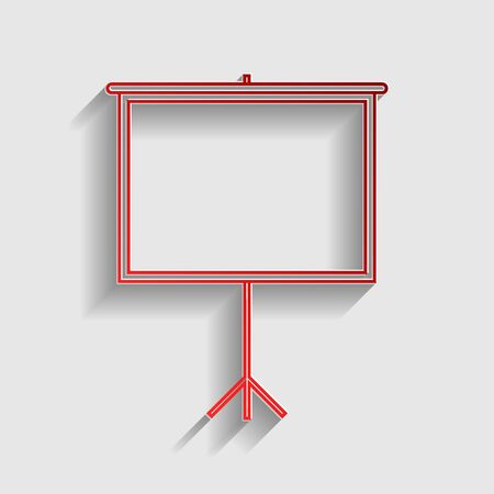projection screen: Blank Projection screen. Red paper style icon with shadow on gray. Illustration