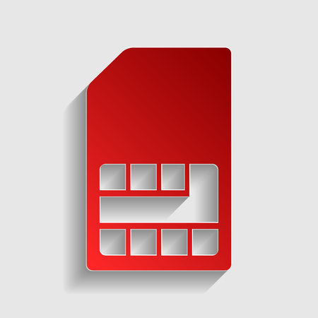 prepaid: Sim card sign. Red paper style icon with shadow on gray. Illustration