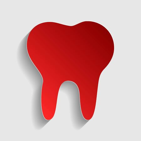 toothcare: Tooth sign illustration. Red paper style icon with shadow on gray.