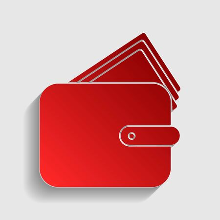 icon red: Wallet sign illustration. Red paper style icon with shadow on gray.