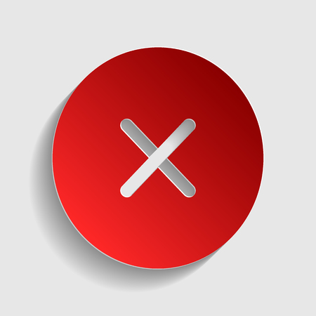 voted: Cross sign illustration. Red paper style icon with shadow on gray.