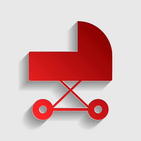 babysitting: Pram sign illustration. Red paper style icon with shadow on gray.
