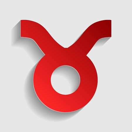 taurus sign: Taurus sign illustration. Red paper style icon with shadow on gray. Illustration