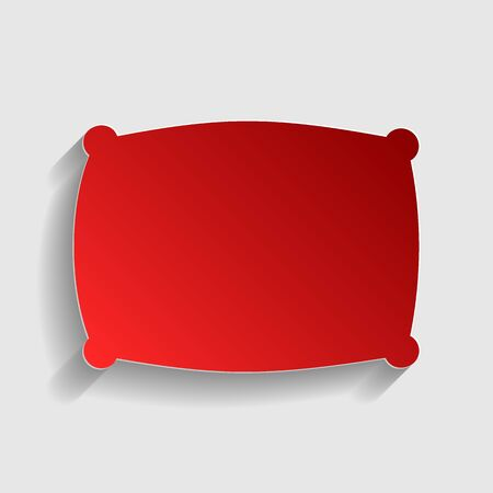 sleeping bags: Pillow sign illustration. Red paper style icon with shadow on gray. Illustration
