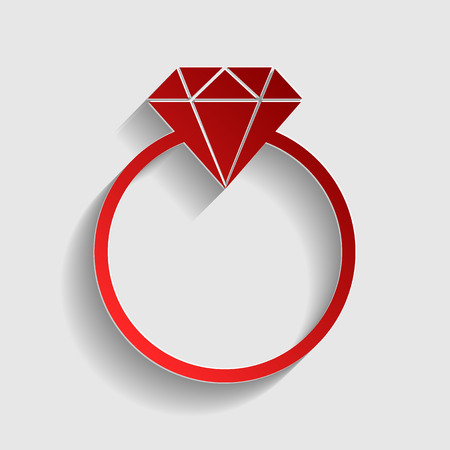 Diamond sign illustration. Red paper style icon with shadow on gray. Illustration