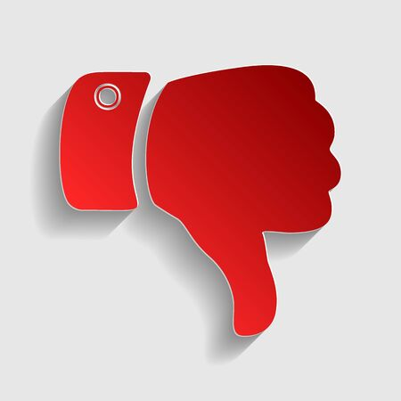 disapprove: Hand sign illustration. Red paper style icon with shadow on gray. Illustration