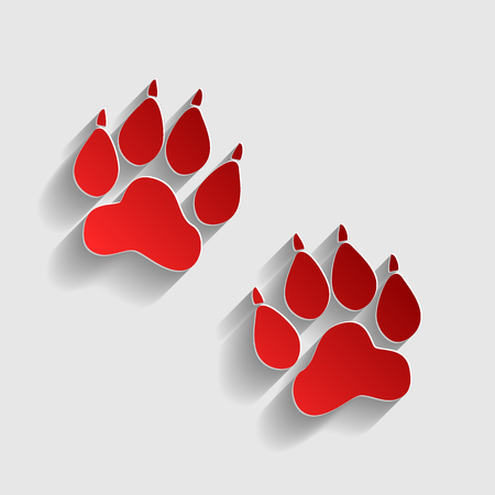 animal finger: Animal Tracks sign. Red paper style icon with shadow on gray.