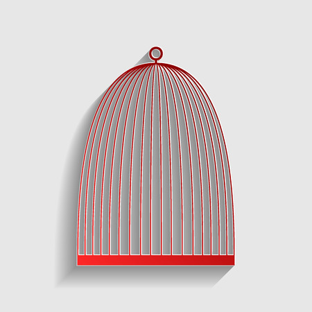 captivity: Bird cage sign. Red paper style icon with shadow on gray. Illustration