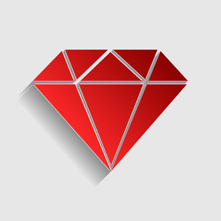 spoil: Diamond sign illustration. Red paper style icon with shadow on gray. Illustration