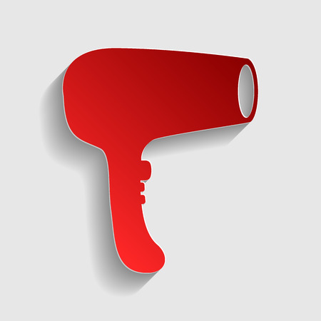 electric dryer: Hair Dryer sign. Red paper style icon with shadow on gray. Illustration