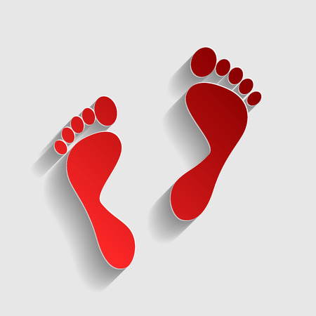 alibi: Foot prints sign. Red paper style icon with shadow on gray.
