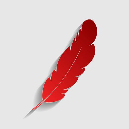 Feather sign illustration. Red paper style icon with shadow on gray.