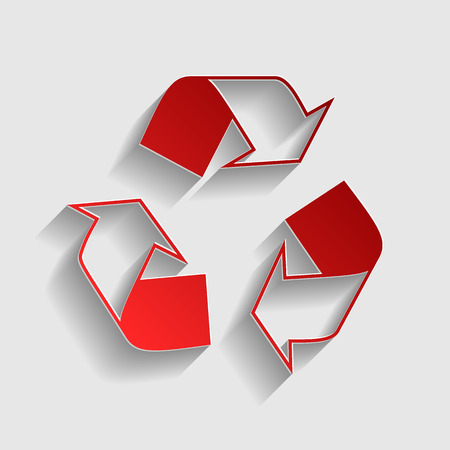recycle logo: Recycle logo concept. Red paper style icon with shadow on gray. Illustration