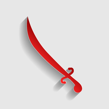 longsword: Sword sign illustration. Red paper style icon with shadow on gray.