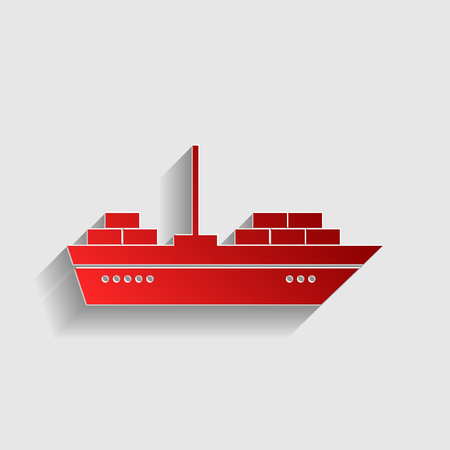 inflate boat: Ship sign illustration. Red paper style icon with shadow on gray. Illustration