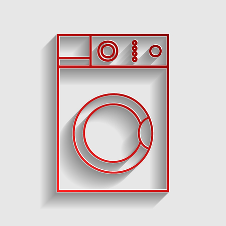 major household appliance: Washing machine sign. Red paper style icon with shadow on gray.