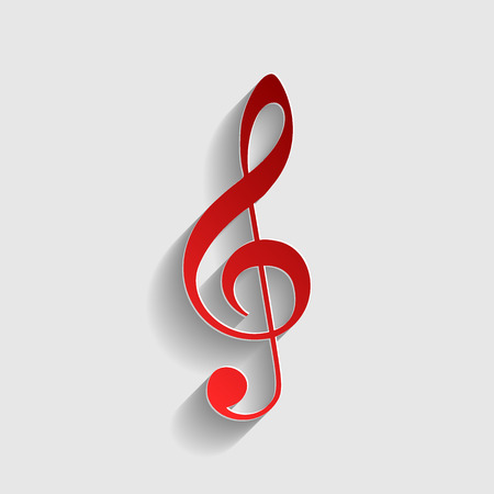 bass clef: Music violin clef sign. G-clef. Treble clef. Red paper style icon with shadow on gray.