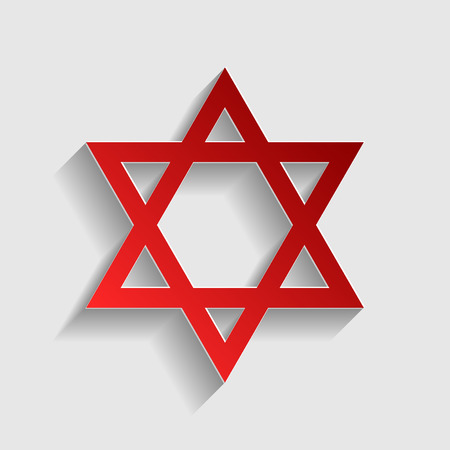 magen david: Shield Magen David Star. Symbol of Israel. Red paper style icon with shadow on gray.
