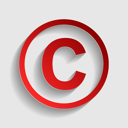 duplication: Copyright sign illustration. Red paper style icon with shadow on gray.