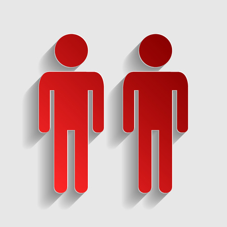gay family: Gay family sign. Red paper style icon with shadow on gray. Illustration
