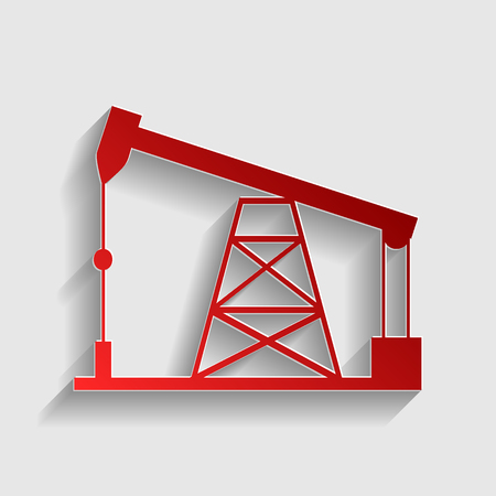 drilling rig: Oil drilling rig sign. Red paper style icon with shadow on gray. Illustration