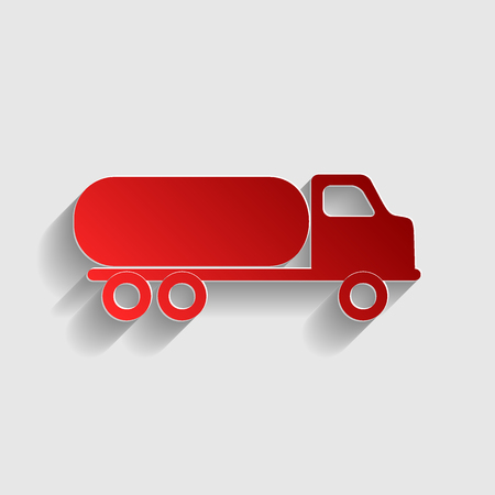 fabrication: Car transports sign. Red paper style icon with shadow on gray.