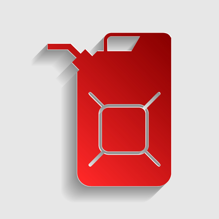 jerry: Jerrycan oil sign. Jerry can oil sign. Red paper style icon with shadow on gray.