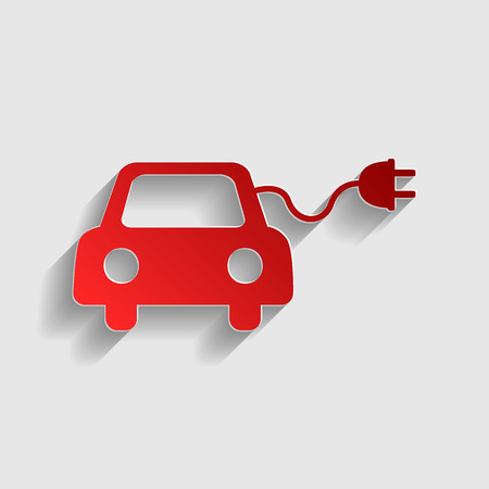 echnology: Eco electric car sign. Red paper style icon with shadow on gray.