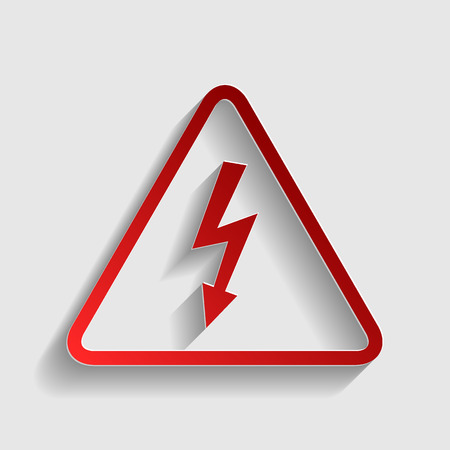 voltage gray: High voltage danger sign. Red paper style icon with shadow on gray. Illustration