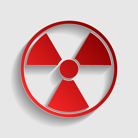 environmental hazard: Radiation Round sign. Red paper style icon with shadow on gray.
