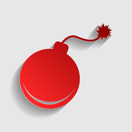 detonation: Bomb sign illustration. Red paper style icon with shadow on gray. Illustration
