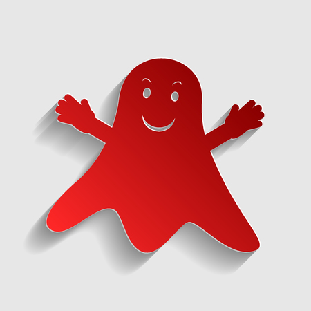 ghastly: Ghost isolated sign. Red paper style icon with shadow on gray.