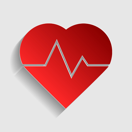 pulsating: Heartbeat sign illustration. Red paper style icon with shadow on gray. Illustration