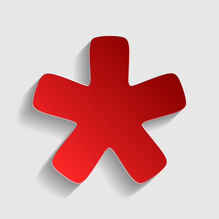 Asterisk star sign. Red paper style icon with shadow on gray.