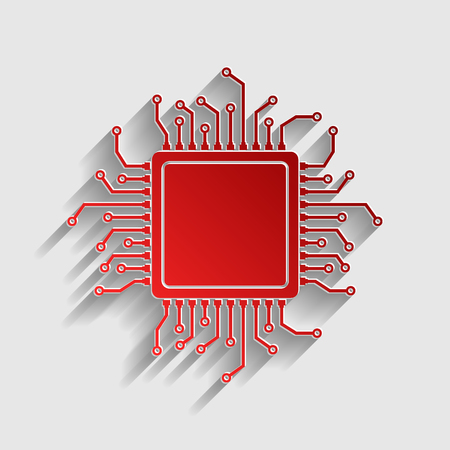 CPU Microprocessor illustration. Red paper style icon with shadow on gray.