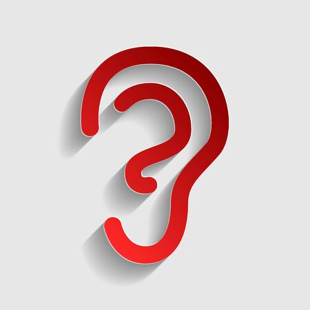 listener: Human ear sign. Red paper style icon with shadow on gray.