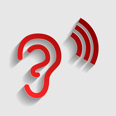 audible: Human ear sign. Red paper style icon with shadow on gray.