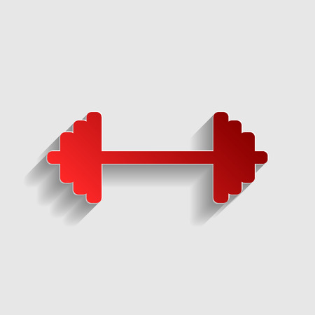 heavy load: Dumbbell weights sign. Red paper style icon with shadow on gray. Illustration